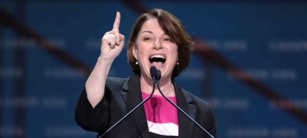 Amy Klobuchar speaking at the 2019 California Democratic Party State Convention.