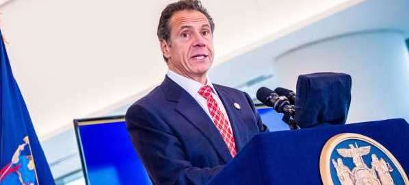 Andrew Cuomo speaks at opening of new LGA terminal in 2019.