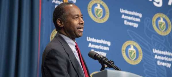 Ben Carson speaking at a Department of Energy Event hosted by Rick Perry.