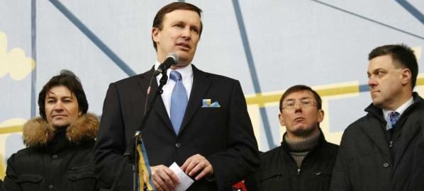 Senator Chris Murphy speaking at Euromaidan, Kyiv, Ukraine, 2013.