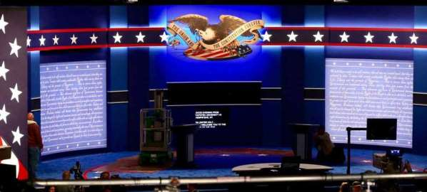Debate stage before Presidential candidates take their podiums.