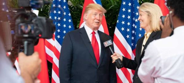 Greta Van Susteren interviewing Donald Trump in the Singapore summit.