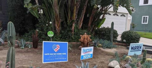 Warren and Sanders signs outside a home in Burbank, California