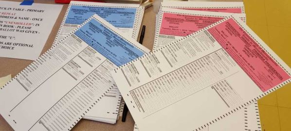 A photo of Super Tuesday presidential primary election ballots in Massachusetts.