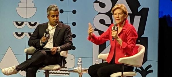 Elizabeth Warren being interviewed by Anand Giridharadas at SXSW in Austin, TX.