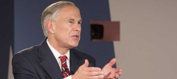 Texas Republican Gov. Greg Abbott speaks at the gubernatorial debate in Austin TX.
