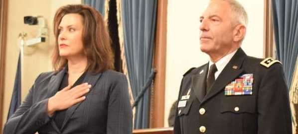 Governor Gretchen Whitmer attending Adjutant General swearing-in, 12/31/18.