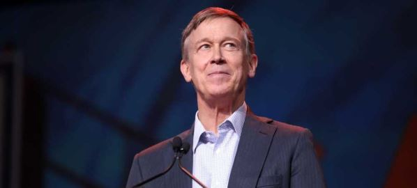 John Hickenlooper speaking at the 2019 California Democratic Party State Convention.