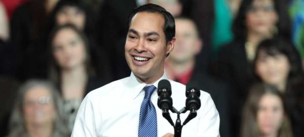 Julian Castro speaking at an event with President Barack Obama in Phoenix, Arizona.