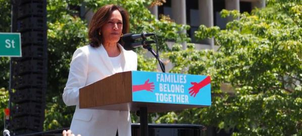 Kamala Harris speaking at L.A.'s Families Belong Together March
