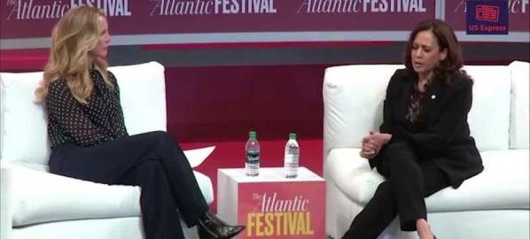 Kamala Harris being interviewed at The 2018 Atlantic Festival in Washington, D.C.