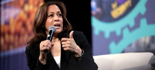 Kamala Harris speaking with at the 2019 National Forum on Wages and Working People.