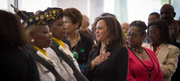 Kamala Harris participating at a town hall in Los Angeles, California.