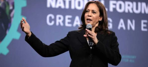Senator Kamala Harris speaking at the 2019 National Forum on Wages and Working People.