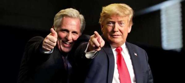 Kevin McCarthy and Donald Trump at a campaign rally.