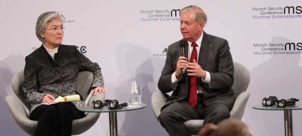Lindsey Graham takes part in the panel discussion at the Munich Security Conference.