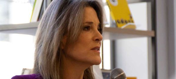 Marianne Williamson speaking at event in Manchester NY on February 17, 2019.