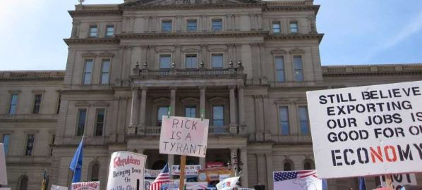 Protest against Gov Rick Snyder's budget proposal at Michigan Capitol in Lansing, 4/13.