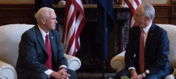 Mike Pence meeting with Australian Prime Minister, Malcolm Turnbull.