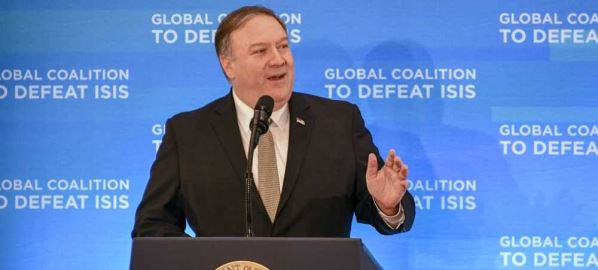 Mike Pompeo introducing Donald Trump at a global summit to defeat ISIS.