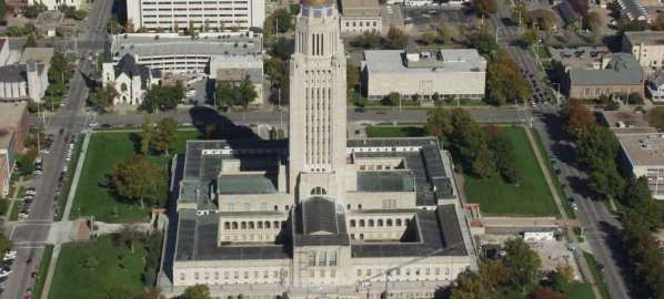 Aerial image of the Nebraska State Capitol building.