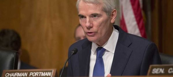 Rob Portman makes opening comments at the Senate Governmental Affairs Committee.
