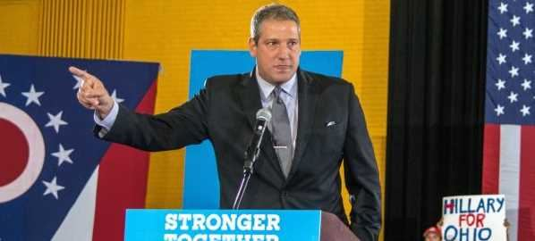 Congressman Tim Ryan speaking at a 2016 Akron Ohio campaign for Clinton.