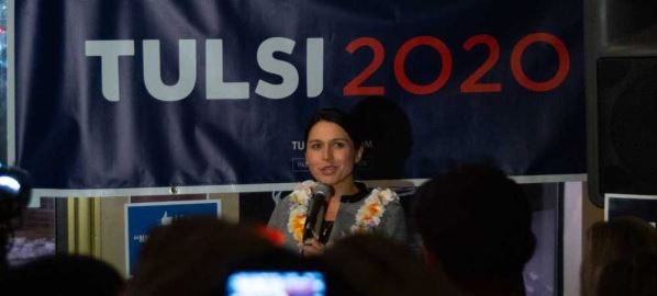 Tulsi Gabbard campaigning for the 2020 United States presidential election.