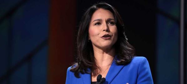 Tulsi Gabbard speaking at the 2019 California Democratic Party State Convention.